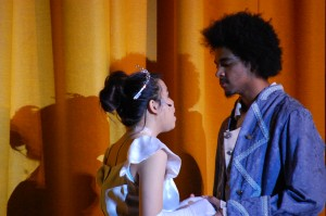 Elizabeth Tran '14 and Edward Ayala '14; balcony scene- Photo Taken by Marina Sweeney '14